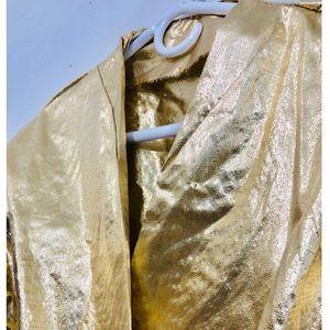 Vintage Jackets & Coats - Vtg Gold Lamé Handmade Cropped Crossover Jacket S